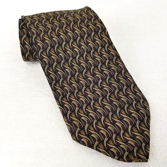 CL TOM FORD Patterned Brown Tie In Silk